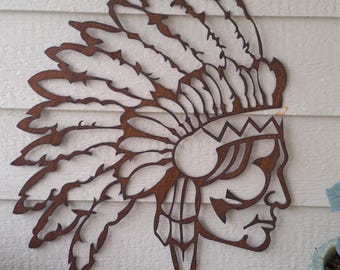 Rustic Native American sihlouette Recycled metal art 24 inch Headdress Western Rustic Profile