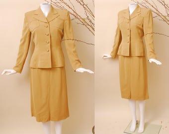 SALE 1940s Mustard Suit / 40s Suit