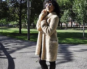 Bouclé sweater coat (oatmeal color)