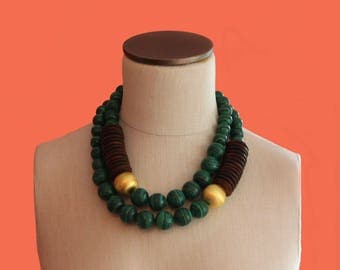 Malachite Gold Chunky Necklace Green & Gold