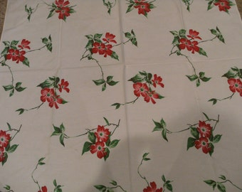 Vintage Red Flower Table cloth