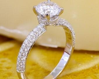 EGL USA G-SI1 14k white gold round cut diamond engagement ring, prong set, anniversary, wedding, propose, bridal, promise, 1.65ct