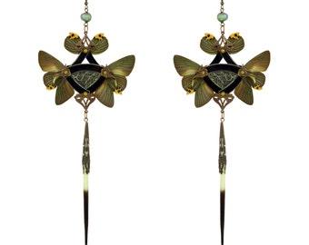 KHONSU / Shoulder Duster Earrings / Silver Snakeskin and Real Jade Green Butterfly with Pearl / Silver Kanzashi Long Dangle Earrings