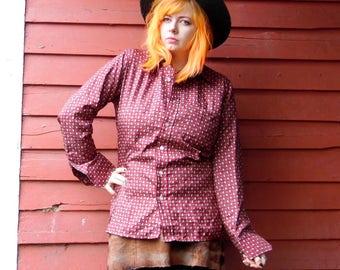 70s Brick Auburn Mini Paisley Mens Work Dress Hippie Western Butterfly Collar Button Up 44