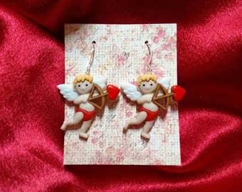 Valentine's day earrings cupid earrings hearts Brockus Creations