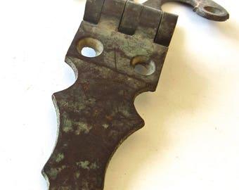 19th Century Brass Bent Ice Box Hinge - Vintage Gothic Hardware - DIY Assemblage Altered Art Supply