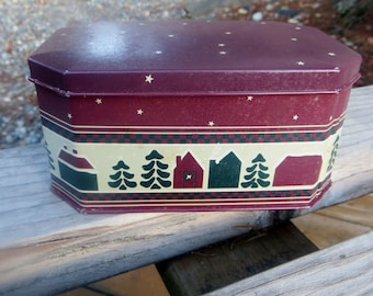 Christmas or Holiday Winter Tin Box Potpourri Press Hexagon Shape Brick Red Houses and Trees and Snow