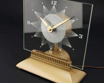 Vintage Starburst Lighted Mantle Clock Mastercrafters - Starlight Mid Century Modern Sunburst Atomic Eames Era 1950's 1960s