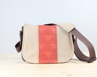 Coral Aztec Leather Camera Bag Satchel DSLR- PRE-ORDER