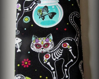 Eyeglass case - Sunglasses case - glasses case - cat eyeglass case - cat sunglass case- cat glasses case - Day of the dead cats glasses case