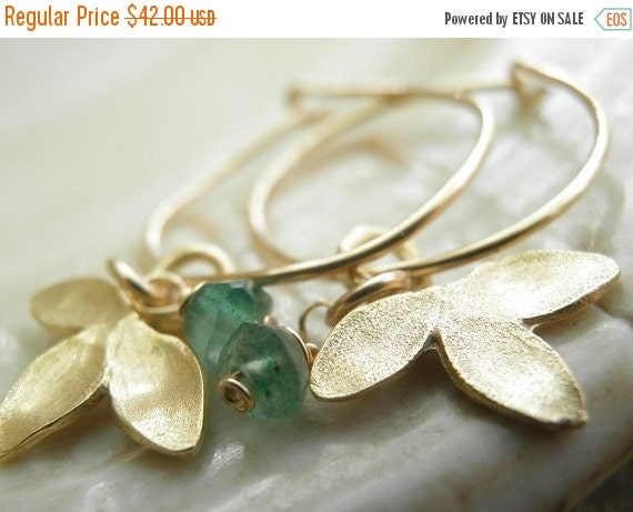 CHRISTMAS SALE christmas gifts MOTHERS Day Sale Green Aventurine Petal Small Hoops, In Gold, August Birthstone, Anniversary Gift For Her, Re