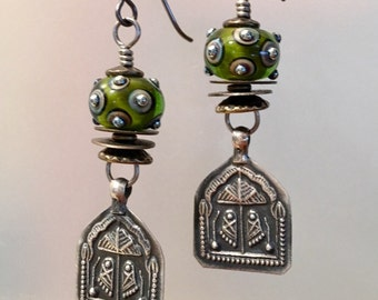 Artisan earrings #47...Sterling and lampwork glass