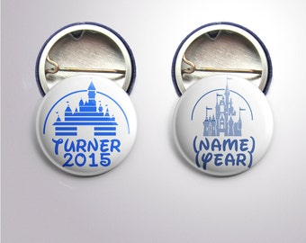 "1"" Custom Disney Castle and Name Buttons"