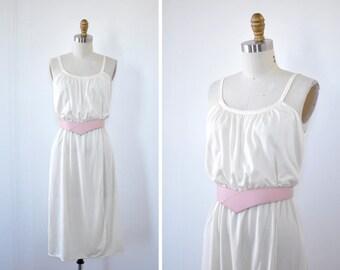 70s Disco Dress XS/S/M • Knit Dress • Half Wrap Dress • Elastic Waist Dress • Vintage Dress • Ivory Dress • Vintage Midi Dress | D708