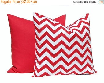 30% Off Sale Red Pillow Covers, Solid Red Pillow, Red Chevron Pillow, Decorative Throw Pillow Cover, Cushion, Various Sizes, Nautical Decor,
