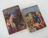 Vintage 1940's Nancy Drew Books with Dust Covers - The Clue in the Crumbling Wall - The Whispering Statue - Mystery Stories for Girls