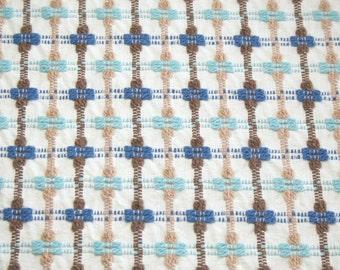 Rare Aqua, Blue and Brown Bates Vintage Chenille Bedspread Fabric Piece - 24 x 24 Inches