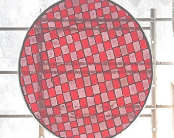 Stained Glass Mosaic Glass Art Decor Glass Centerpiece Distressed Red Table Top Plate Platter Sun Catcher Decorative Plate