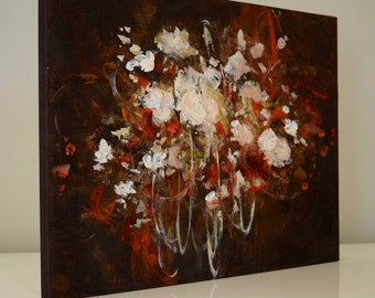 Abstract Painting Floral painting Flower painting  peony red brown gold Crazy Love  9 x 12 Swalla Studio