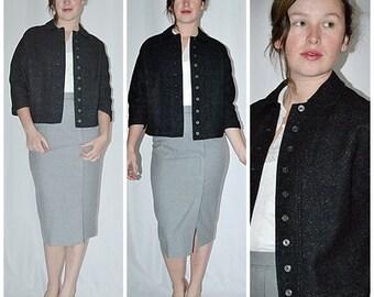 Vintage 1960s Black Tweed Wool Cropped Jacket Sz M/L