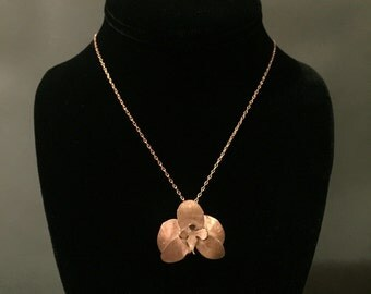 Copper Orchid Pendant - Hand Forged Reiki Infused