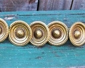 RESERVED FOR Michelle Laghezza 10 Antique Brass Drawer Knobs by Keeler Brass Co Decorative Furniture Hardware Ornate Round Brass Knobs