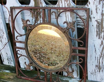 Ornate Distressed Brown Metal Wall Mirror with Fleur de Lis Accents Shabby Chic Home Decor