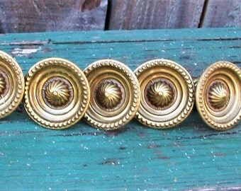 Antique Brass Drawer Knobs by Keeler Brass Co Decorative Furniture Hardware Ornate Round Brass Knobs