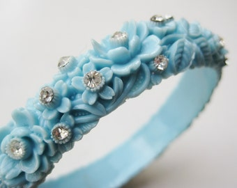 Vintage 40s Blue Floral Glamour Girl Rhinestone Jeweled Celluloid Bangle Bracelet
