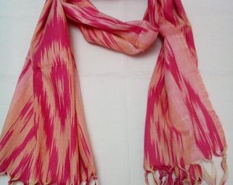 Uzbek handwoven pink cotton ikat scarf. SC023