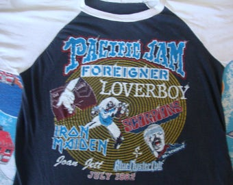 Vintage Iron Maiden Scorpions Foreigner Loverboy Joan Jett Pacific Jam Blue Oyster Cult Heavy Metal Concert Tour 80's 1982 T Shirt Size L