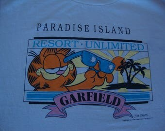 Vintage 80's GARFIELD The Cat Paradise Island Resort Vacation Tourist Punk Rock T Shirt Adult Size XL