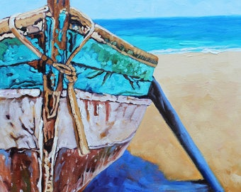 Art, Boat Painting, Reproduction Giclee, Retired Old Boat, Giclee Art gifts, Rebecca Beal