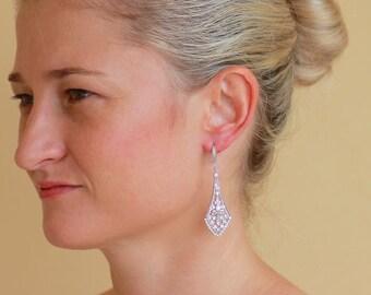 Crystal Bridal Chandelier Earrings, Vintage style Crystal Earrings, Silver Earrings, Deco Bridal Accessories,  EMILY 2