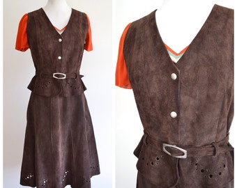 1970s Brown suede midi skirt & waistcoat set / 70s a line skirt suit - M L