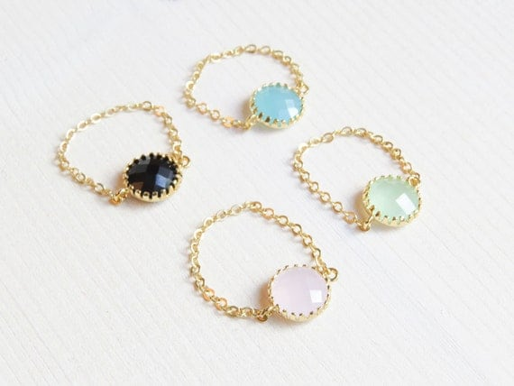 Stone chain ring | Colorful round stone on a chain | Color stone ring | Chain Ring