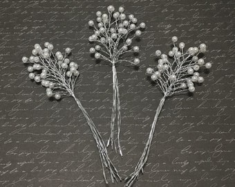 3 Sets 6mm White Pearl Picks - Artificial Flowers, Wedding Picks, Flower Crown, Hair Accessories, Millinery, Bouquet