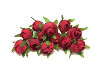 12 Artificial FUCHSIA RED Mini Ranunculus - Artificial Flowers, Silk Flowers, Wedfing Flowers, Flower Crown, Hair Accessories, Millinery