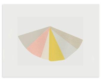Geometric silkscreen print, large abstract fine art, greys, pink, yellow. Emma Lawrenson, limited edition, original printmaking