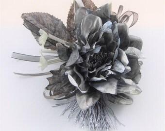 Millinery Flower/leaves/tassel bundle - Grey