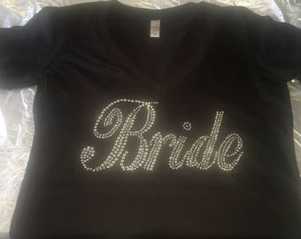 Bride Short Sleeve V Neck Shirt - Black and Rhinestones and bling bride to be shirt - SAMPLE SALE - brand new - Size MEDIUM -  bachelorette