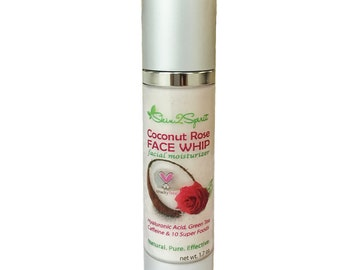 COCONUT ROSE Antiaging Face Whip - Airless Bottle - Organic -  All Natural - Antioxidant - Antiaging - Relaxing Scent