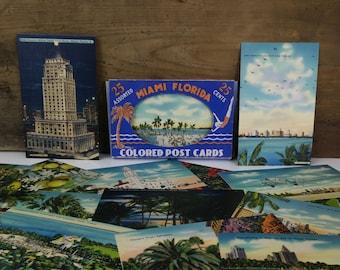 Vintage Miami Florida Linen Postcard Set / Pack of 25
