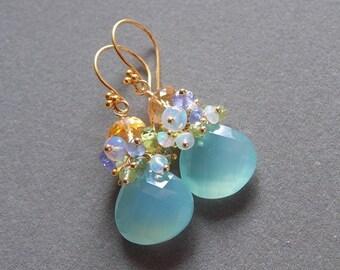 20% Off Mothers Day Sale Aqua Chalcedony Ethiopian Opal Golden Citrine Gemstone Cluster Earrings Tanzanite Peridot Bridal Earrings