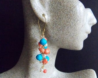 20% Off Mothers Day Sale Turquoise Coral and Freshwater Pearl Gemstone Cluster Dangle Earrings