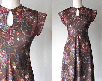 Vintage 70s boho dress BROWN FLORAL keyhole neck - S