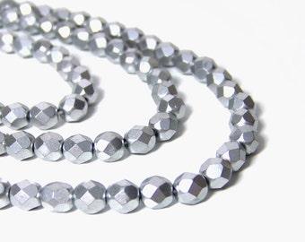 Metallic silver glass beads, 6mm faceted matte finish, full strand (693G)