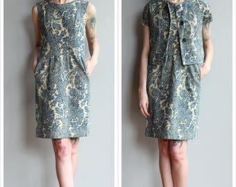 1960s Dress Set // California Girl Paisley Woven 2pc Dress & Jacket // vintage 60s dress