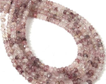 Lepidocrocite, 3mm - 4mm, Rondelle, Microfaceted, Pink, White, Wine, Natural Gemstone Beads, Untreated, Very Small, 13 Inch Strand - ID 2313