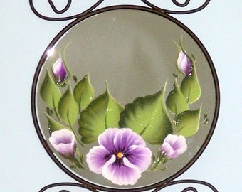 Purple Pansy wall mirror